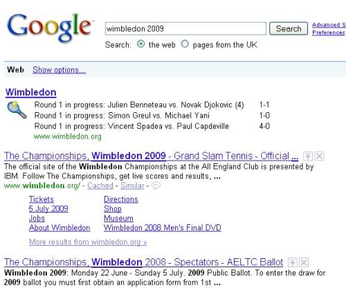 google's wimbledon scores